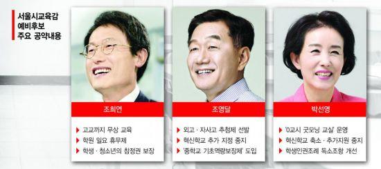서울 교육감 '진보·중도·보수' 제대로 붙었다