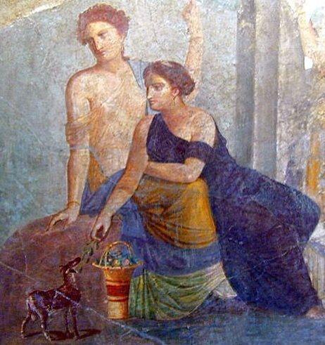 고대 그리스와 로마시대 벽화 속 여성들 대부분이 화장을 전혀 하지 않는 모습으로 등장하는 이유는 화장을 대단히 부정적으로 보던 당시 가부장제의 시선 때문이었다.(사진= 위키피디아)