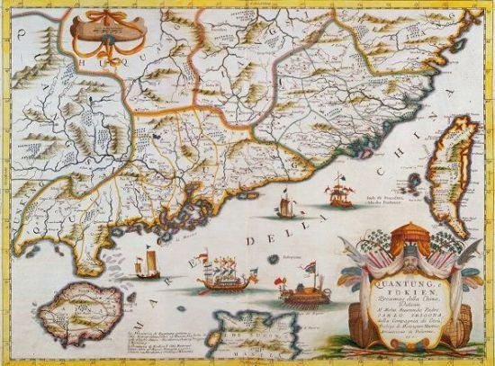 정성공이 활약하던 시절 중국 남부 일대 지도 모습. 이 지역은 16세기 이후 일본 출신 왜구, 포르투칼과 네덜란드, 스페인 상선, 중국인 해적과 상인 등이 뒤얽혀있었다. 이런 배경 하에서 정성공의 해상세력은 성장해나갔다.(사진=위키피디아)