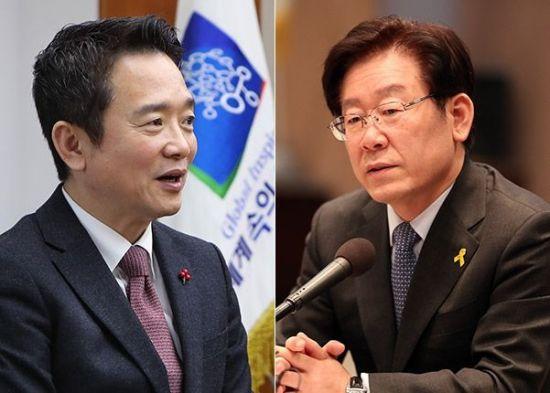 남경필 자유한국당 경기지사 후보(좌)와 이재명 더불어민주당 경기지사 후보(우).사진=연합뉴스