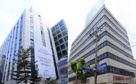 여의도 한양빌딩을(사진 왼쪽)과 영등포 우성빌딩. 사진=연합뉴스