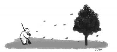[오후 한 詩]낙엽 쓸기/전병호