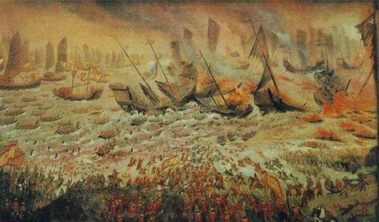 바익당 전투 묘사도. 당시 쩐흥다오 장군은 퇴각하는 몽골군을 섬멸하기 위해 조수간만에 따라 수심이 달라지는 바익당강에 쇠말뚝을 설치, 몽골군을 유인하는 작전으로 대승을 거뒀다.(사진=위키피디아)