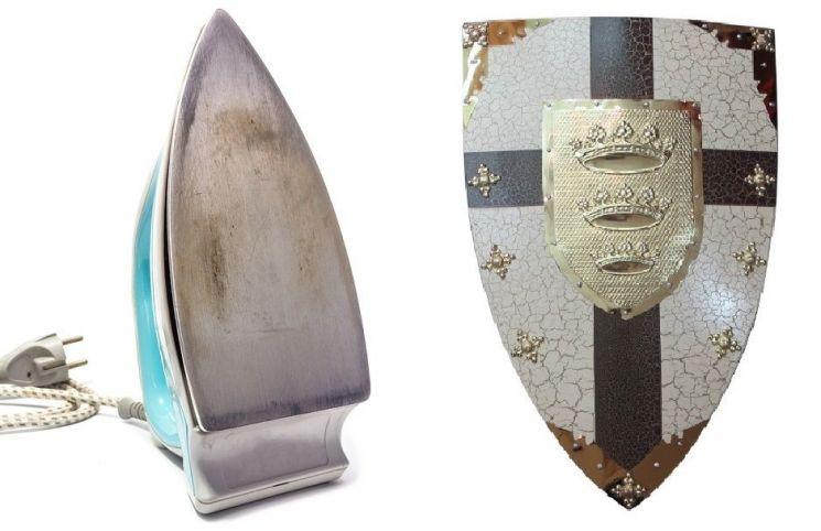 중세 유럽에서 기사들이 사용하던 방패는 흔히 '히터실드'라고 불리며, 19세기 도검 수집가들이 마치 다리미 밑판처럼 생겼다고 해서 붙인 이름으로 알려져있다.(사진=aliexpress.com, enechange.jp)