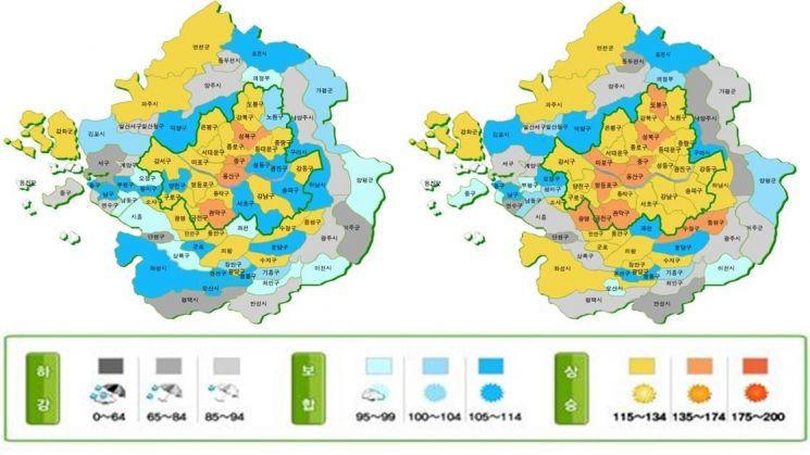6월(왼쪽)과 7월 수도권 주택매매시장 소비심리지수.