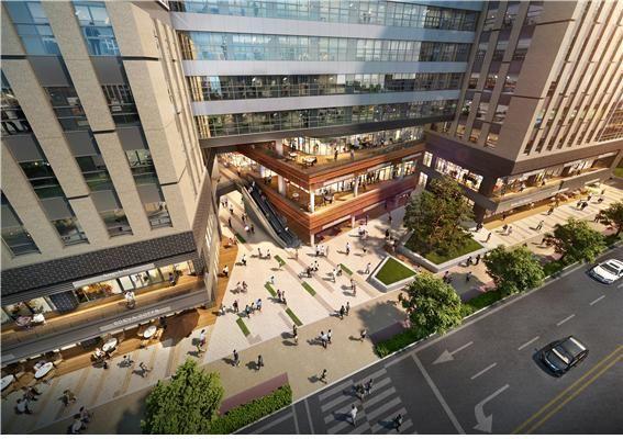 한강신도시 최초 역세권 지식산업센터 '디원시티'. 상업시설이 있는 저층부를 4면 개방형으로 인근 유동인구를 흡수하도록 설계했다.