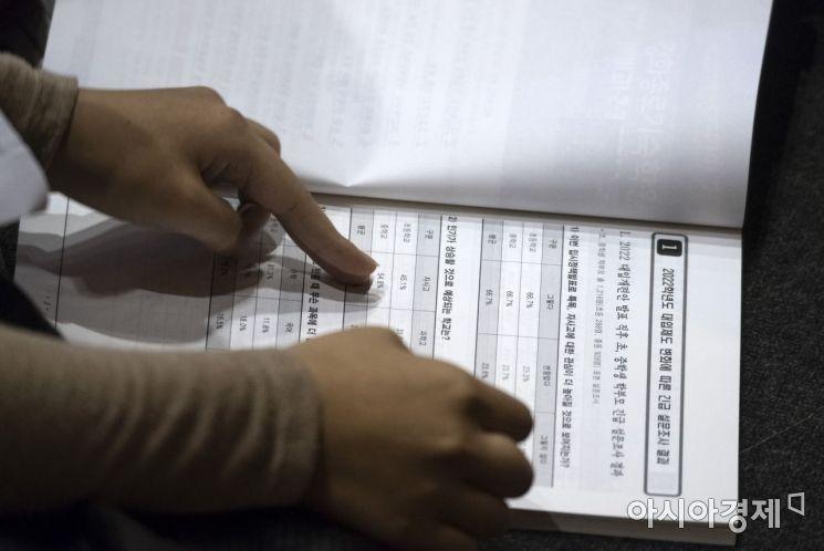지난 8월26일 서울 종로구 성균관대학교에서 한 입시학원 주최로 열린 '특목자사고, 일반고 선택 및 대입전략변화 설명회'에 참석한 한 학부모가 자료를 보고 있다./윤동주 기자 doso7@