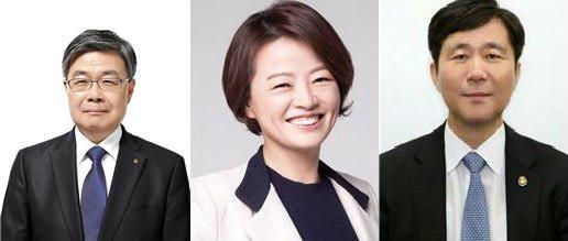 이재갑 고용노동부 장관 후보자(왼쪽), 진선미 여성가족부 장관 후보자(가운데), 성윤모 산업통상자원부 장관 후보자