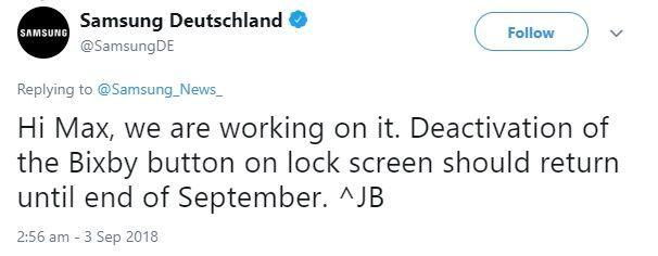 빅스비 버튼 비활성화 기능을 9월말까지 제공하겠다고 답한 삼성전자 독일 트위터 공식계정.