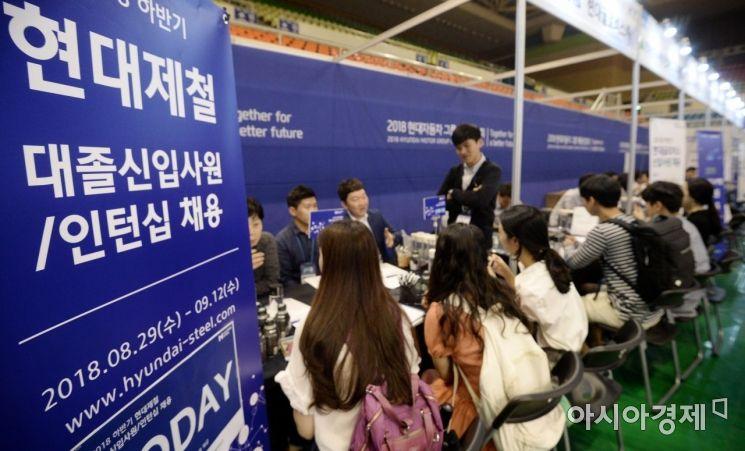 4일 서울 성동구 한양대학교 올림픽체육관에서 열린 '2018 한양대 취업박람회'에서 구직자들이 채용 상담을 받고 있다./김현민 기자 kimhyun81@