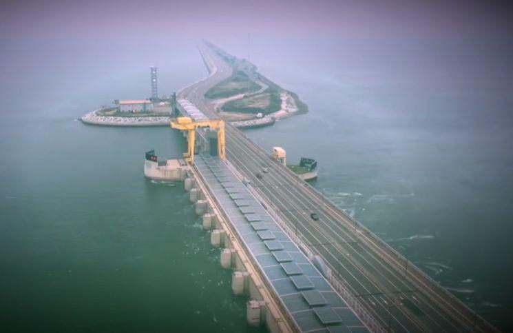 시화호 조력발전소의 모습. [사진=유튜브 화면캡처]