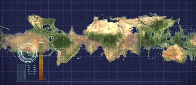 지구의 자전이 엄춘다면 적도의 바닷물이 모두 극지역으로 이동해 모든 대륙이 연결됩니다. 그러나 일부 중위도 지역을 제외하고는 인류가 살 수 없는 환경이 됩니다. [사진=내셔널 지오그래픽채널 방송화면 캡처]