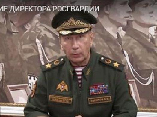 11일(현지시간) 러시아 국가근위대 유튜브 채널에 나온 러시아 국가근위대장인 빅토르 졸로토프의 모습. 해당 동영상에서 졸로토프는 야권운동가인 알렉세이 나발니에게 직접 결투신청을 했다.(사진=유튜브 영상 캡쳐)