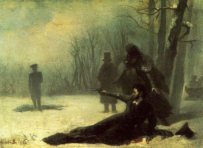 러시아의 저명한 시인이었던 알렉산드르 푸시킨은 1837년, 불과 38세의 나이에 결투 도중 숨을 거뒀다. 결투 장면을 그린 작품 모습(사진=위키피디아)