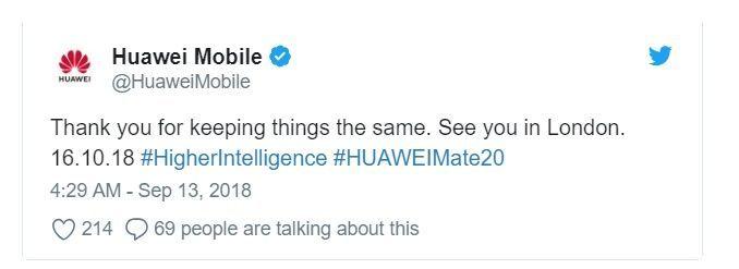 애플의 아이폰 공개 행사 직후 화웨이 트위터 공식 계정이 올린 글.