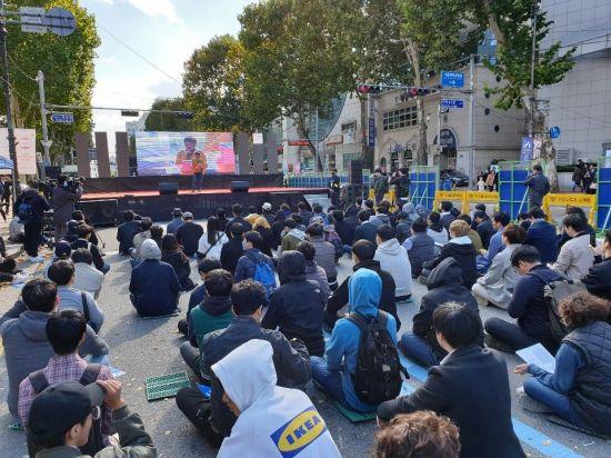 10월 27일 열린 '당당위' 1차 집회 모습. (사진=이승진 기자)