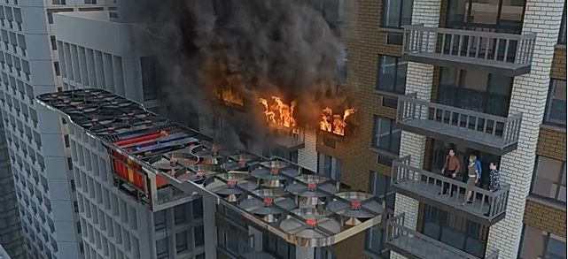 소방드론을 활용한 고층건물 화재 진압[사진=유튜브 영상 캡처]