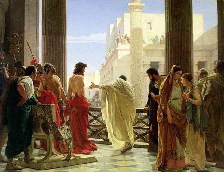 안토니오 시세리(Antonio Ciseri)의 명작 '에케 호모(Ecce Homo)'에서 군중들에게 예수를 손으로 가리키는 유대 총독, 폰티우스 필라투스의 모습.(사진=위키피디아)