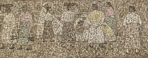 박수근, 시장의 사람들, 메소나이트에 유채, 24.9×62.4cm, 1961(뒷면 사인)[K옥션 제공]