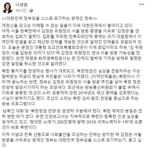 사진=나경원 자유한국당 의원 페이스북 캡처
