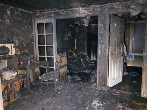6일 충북 청주시 용암동의 한 아파트에서 화재가 발생했다./사진=청주동부소방서