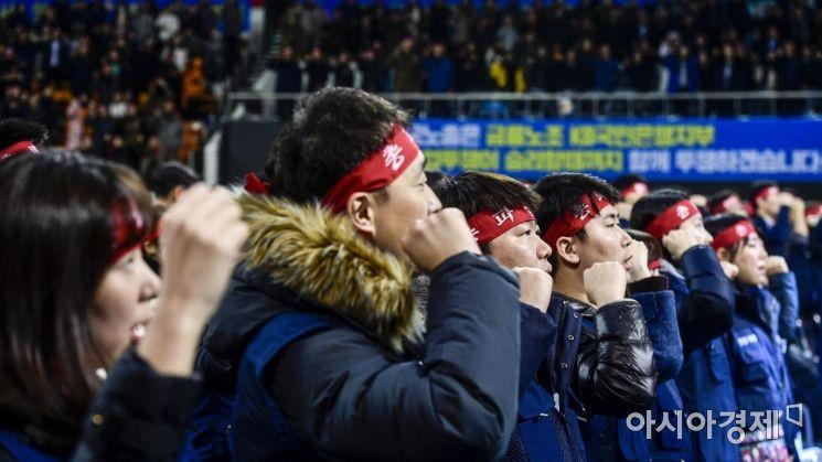 KB국민은행 노사가 총파업을 앞두고 밤생협상을 벌렸지만 이견을 좁히지 못해 결렬된 8일 서울 송파구 잠실학생체육관에서 국민은행 노조원들이 총파업 출정식을 하고 있다./강진형 기자aymsdream@