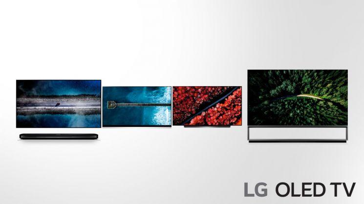 LG 올레드 TV 신제품 주요 모델. 왼쪽부터 W9, E9, C9, Z9시리즈 순(사진=LG전자)