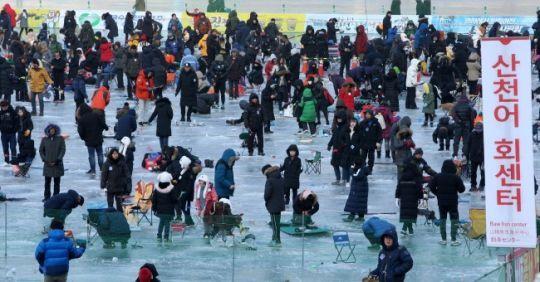 '2019 화천 산천어축제'가 개막 3주째로 접어든 지난 20일 축제 분위기가 절정에 달했다. 사진=연합뉴스
