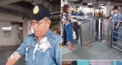 음료반입을 제지하는 경찰관에 푸딩 세례를 한 중국인 유학생. 사진=뉴스5 SNS 화면 캡처