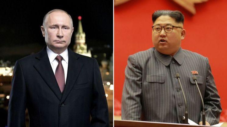 김정은 북한 국무위원장(오른쪽)과 블라디미르 푸틴 러시아 대통령