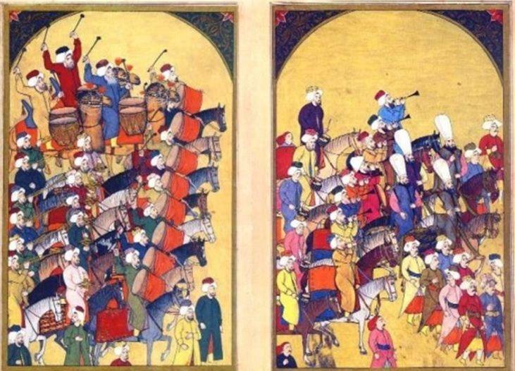 세계 최초의 군악대이자 모차르트의 터키행진곡 탄생의 기원이 된 것으로 알려진 18세기 메흐테르 군악대의 모습을 그린 그림.(사진=국방홍보원)