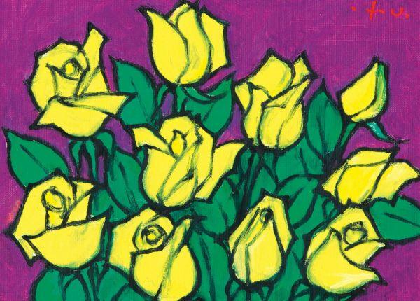 황염수 '장미', 패널 위 캔버스에 유채, 21.2×33.4cm  [사진= 케이옥션 제공]