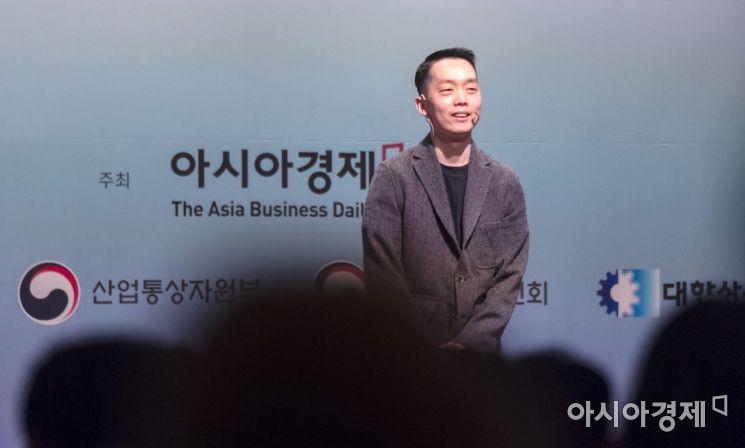 강범두 한화 드림플러스 엑셀러레이터가 22일 서울 중구 대한상공회의소에서 열린 '2019 아시아미래기업포럼'에서 '혁신이 성장이다'라는 주제로 강연을 하고 있다./윤동주 기자 doso7@