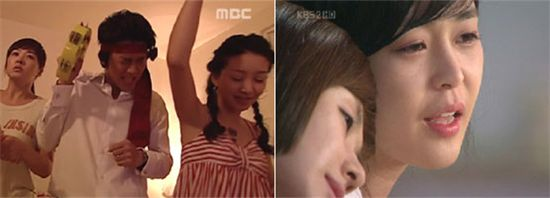 """Scenes from """"My Name Is Kim Sam Soon"""" (left) and """"Woman of the Sun"""" [MBC/KBS2 TV]"""