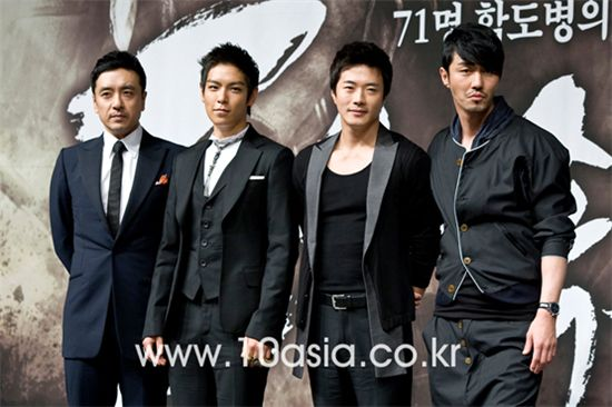 "From left, actors Kim Seung-woo, T.O.P (Choi Seung-hyun), Kwon Sang-woo and Cha Seung-won pose during a photo session of a press conference for film ""Into Fire"" held at Imperial Palace Hotel in Seoul, South Korea on May 10, 2010. [Lee Jin-hyuk/10Asia]"