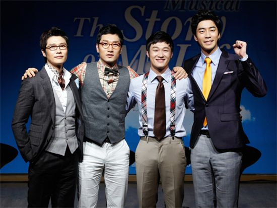"""From left, musical """"The Story of My Life"""" cast Ryu Jung-han, Lee Suk-jun, Lee Chang-yong and Shin Sung-rok. [OD Musical Company]"""