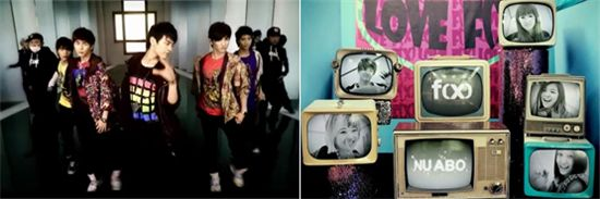 "From left, music videos for K-pop singles ""Amigo"" and ""Nu ABO"" [SM Entertainment]"