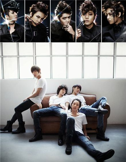 Korean boy bands SS501 (top) and CNBLUE (below) [DSP Media/FNC Music]