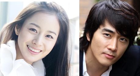 Korean actress Kim Tae-hee (left) and actor Song Seung-hun (right) [Namoo/Storm S]