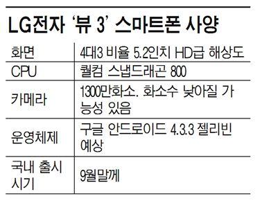 5.2인치폰 LG '뷰 3', 내달말 출시…갤노트3에 맞불