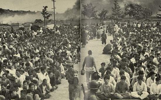 제주4.3 당시 군경 토벌대에 의해 검거돼 처벌을 기다리던 제주도민들. 자료사진