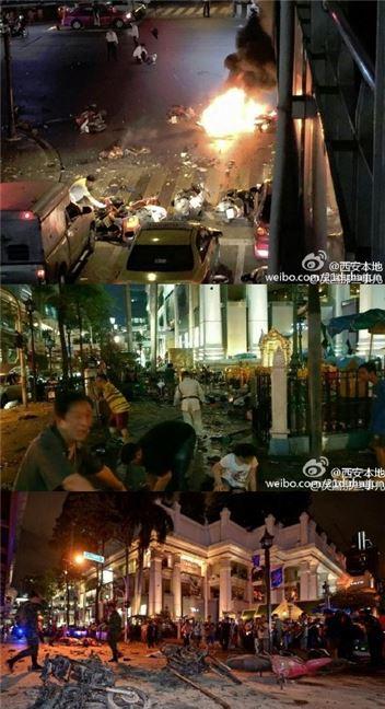 방콕 폭발테러 현장. 사진=웨이보 캡처