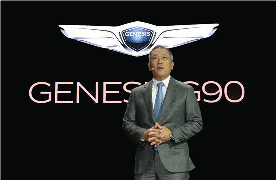 2016 디트로이트 모터쇼 현장에서 현대차 정의선 부회장이 제네시스 브랜드 전략과 방향성을 발표하고 있다.