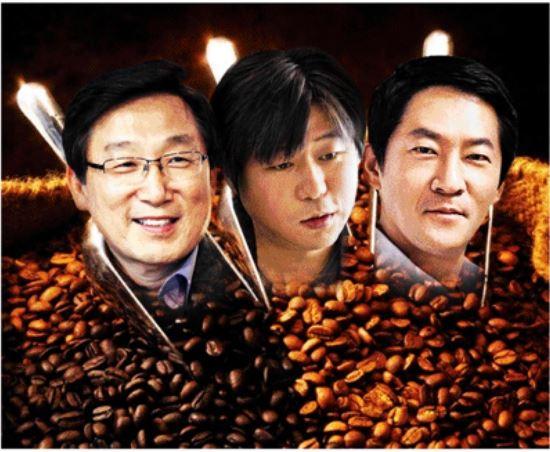 (사진 왼쪽부터)이석구 스타벅스커피코리아 대표, 김도균 탐앤탐스 대표, 강훈 망고식스 대표(아시아경제DB)