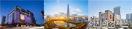 (왼쪽부터)현대면세점 삼성동 무역센터 부지, 롯데면세점 잠실 월드타워점 부지, 신세계디에프 서초동 센트럴시티 부지.