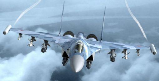 수호이 35 전투기.12발의 미사일 등을 탑재하나 스텔스 성능이 없다.