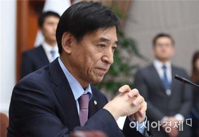 이주열 한국은행 총재가 23일 오전 서울 중구 한국은행에서 열린 금융통화위원회 본회의를 주재하고 있다.