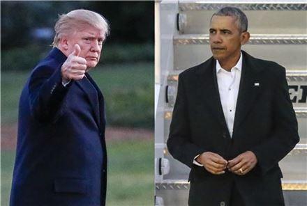 도널드 트럼프 미국 대통령(좌)과 버락 오바마 전 대통령(사진=EPA연합,AP연합)