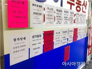 ▲ 서울 강남구의 한 재건축 단지 내 부동산 앞에 시세를 알리는 전단지가 붙어져 있다.