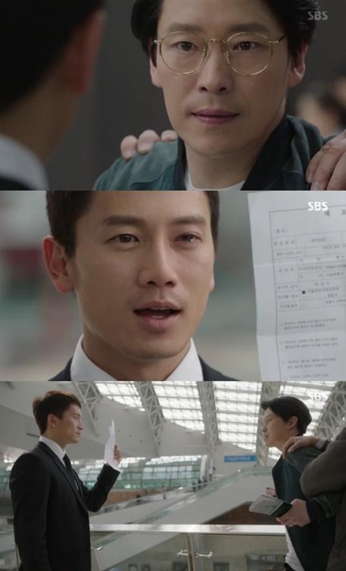 박정우(지성 분)이 자신의 아내를 죽인 차민호(엄기준 분)에게 체포하는 장면이 그려졌다/사진= SBS '피고인' 방송 캡처